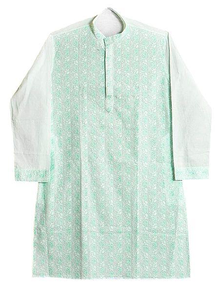 Green Embroidered Mens White Kurta