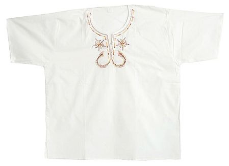 Embroidered Mens White Short Kurta