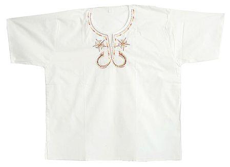 Embroidered Mens White Short Kurta