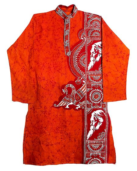 Red Batik on Dark Saffron Mens Cotton Kurta