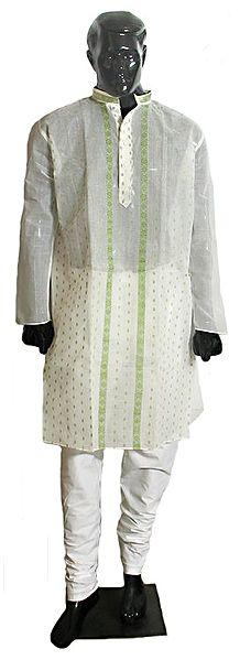 Weaved Design on White Mens Churidar Kurta