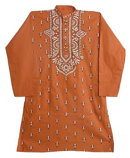 Kantha Embroidery on Mens Saffron Kurta