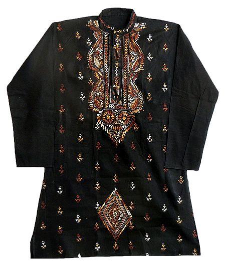 Kantha Embroidery on Black Kurta for Men