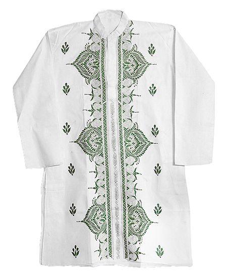 Kantha Stitch Embroidery on White Kurta