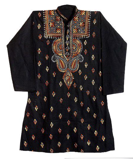 Kantha Embroidery on Mens Black Kurta