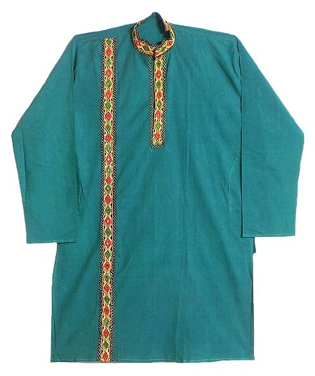 Mens Embroidered Cyan Blue Kurta