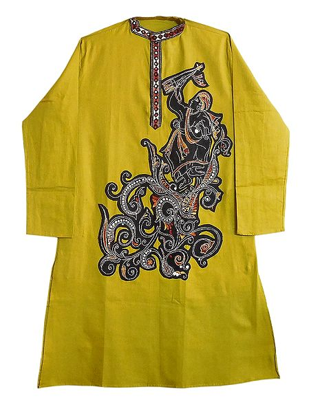 Mens Appliqued Green Cotton Kurta with Kantha Stitch
