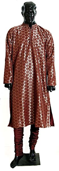 Maroon with Golden Polyester Churidar Kurta for Men