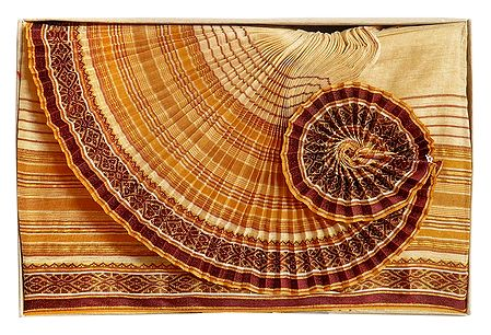 Mens Cotton Beige Ready to Wear Stitched Dhoti with Maroon Border