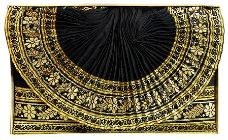 Mens Cotton Silk Black Ready to Wear Stitched Dhoti with Golden Border