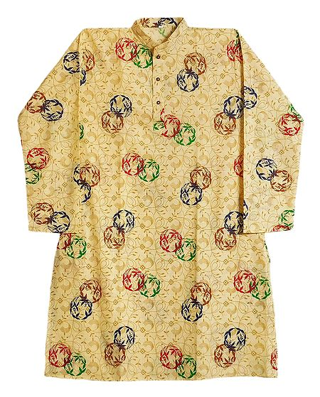 Light Yellow Cotton Silk Printed Kurta