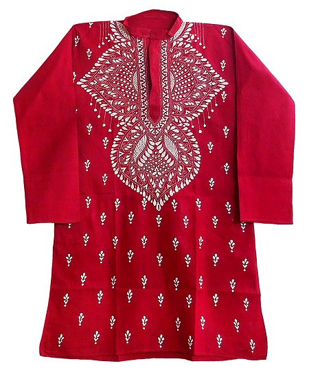 Dark Red Mens Kurta with White Kantha Embroidery