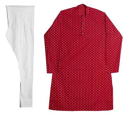 Red Cotton Kurta with White Churidar