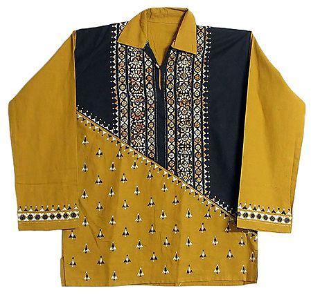 Yellow with Black Patch Short Kurta with Kantha Stitch
