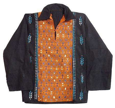 Black with Yellow Mens Short Kurta with Kantha Stitch