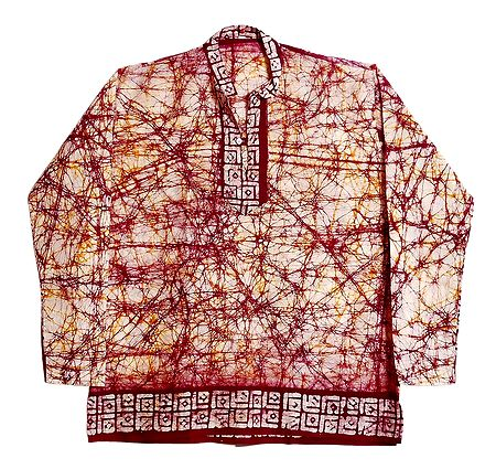 Red Batik on White Short Kurta