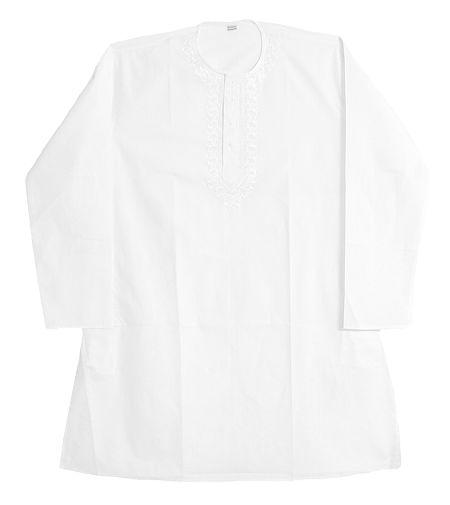 Embroidery on White Cotton Kurta for Men