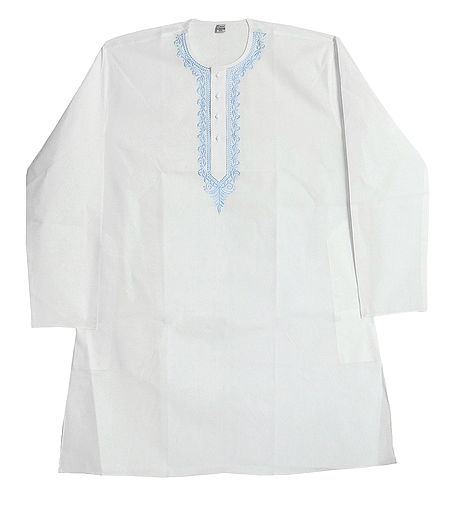 Embroidery on White Cotton Kurta for Men
