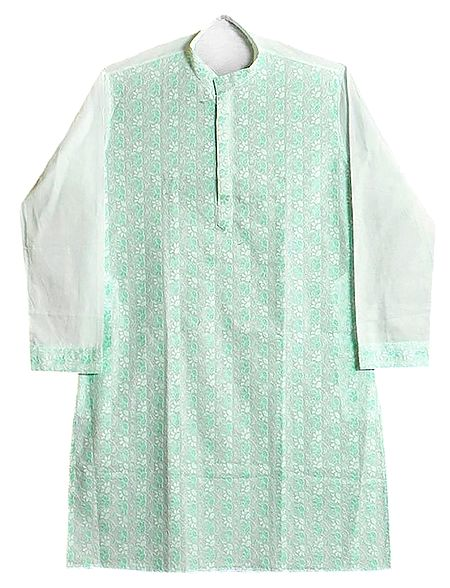 Green Embroidered Mens White Kurta
