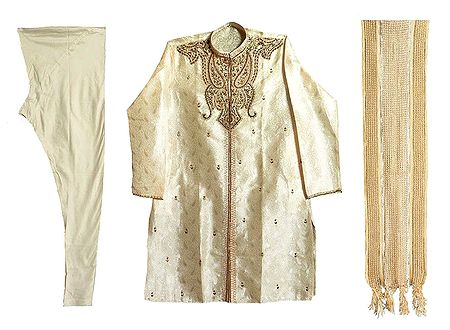 Light Beige Self Design Mens Sherwani with Zardosi Work