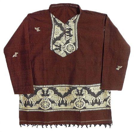 Dark Rust Full sleeve Kurta with Baluchari Weaved Design