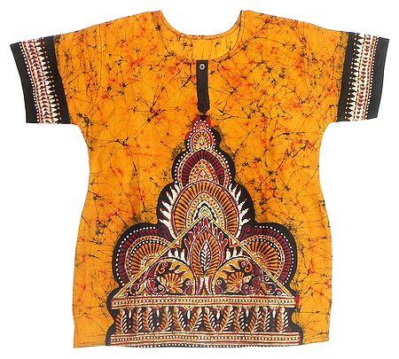 Dark Yellow, Red and Black Batik Painted Kurta