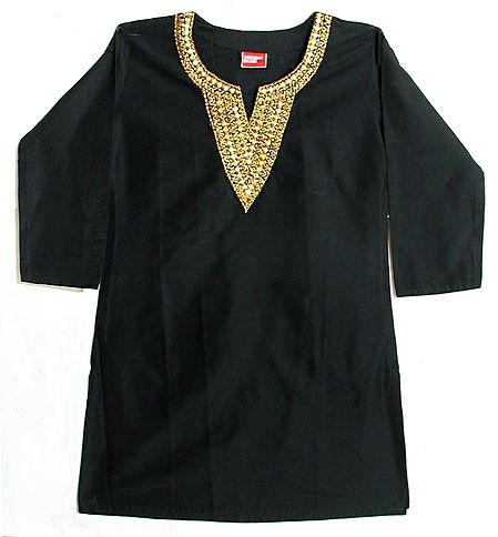 Black Kurta with Mirror and Beadwork