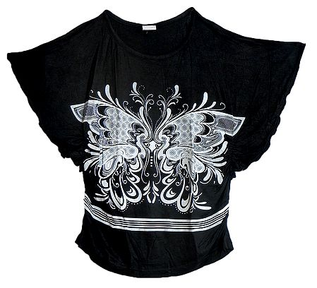 White Butterfly Print on Black Designer Top