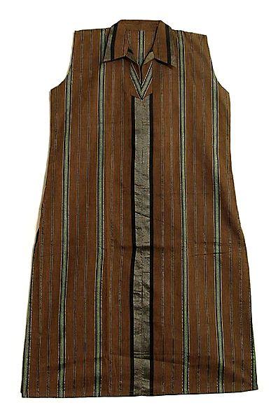 Dark Brown Kurta with Vertical Stripe
