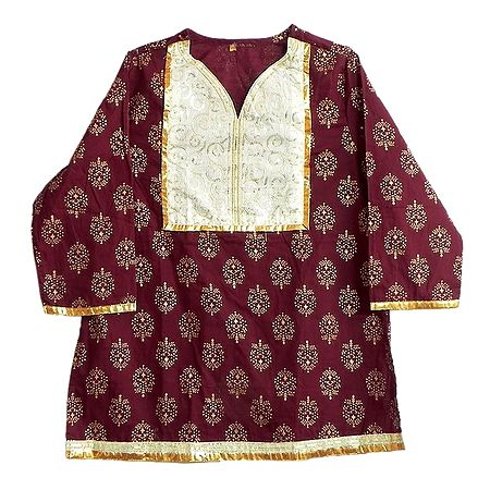 Maroon Printed Kurti with Sequine Work on White Appliqued Cloth