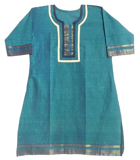 Cyan Blue Madurai Cotton Kurta