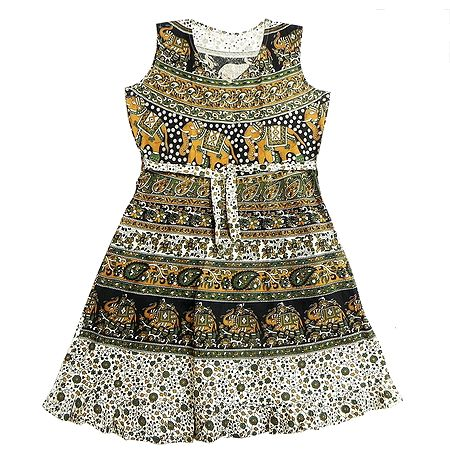 Sanganeri Print Dress with a Pair of Additional Unstitched Sleeves