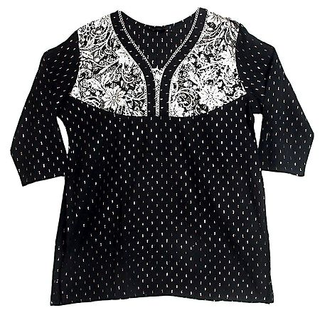 Black with White Embroidered Kurta