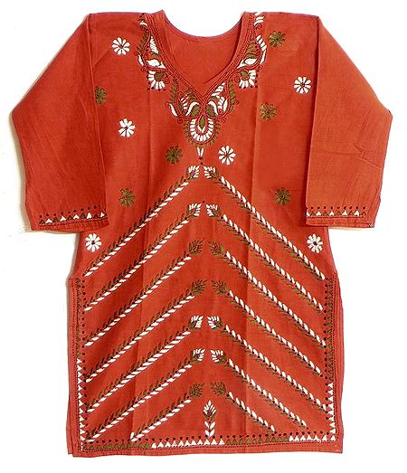 Dark Saffron Kurti with Kantha Stitch