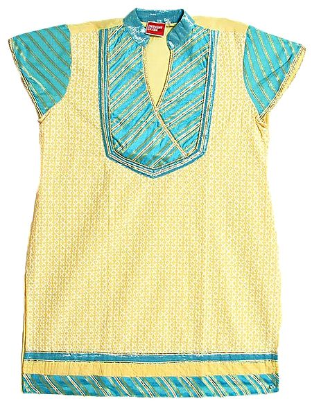 Light Yellow with Cyan Blue Embroidered Top