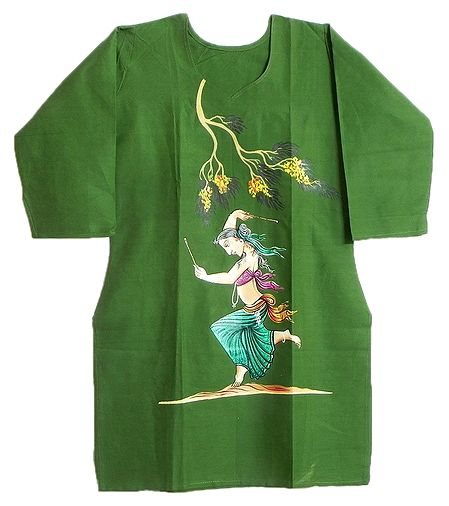 Hand Painted Green Kurta with Three Quarter Sleeves