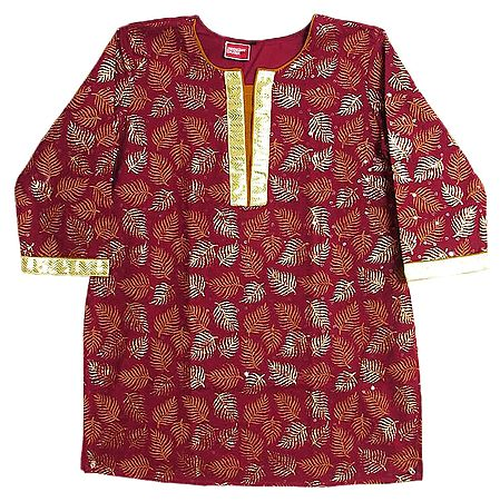 Maroon with Golden Hand Painted Kurta