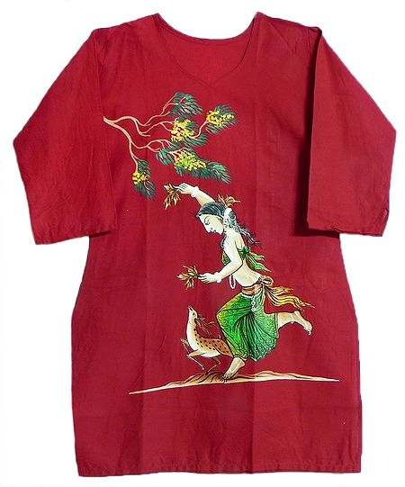 Hand Painted Red Kurta with Three Quarter Sleeves