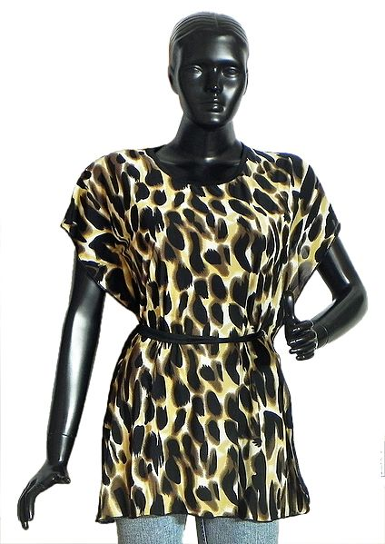 Leopard Skin Print Synthetic Kaftan Top