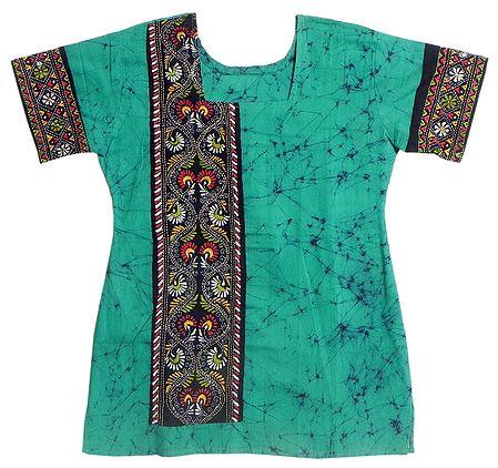 Cyan Blue and Black Batik Painted Kurta with Kantha Stitch Embroidery