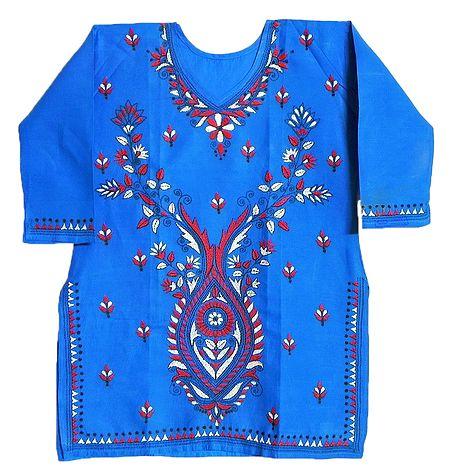 White and Red Kantha stitch on Blue Kurti