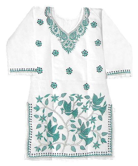 Cyan Blue Kantha stitch on White Kurti