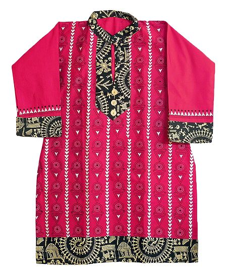Kantha Stitch on Red Kurta