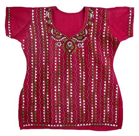 Kantha Stitch on Red Cotton Kurti