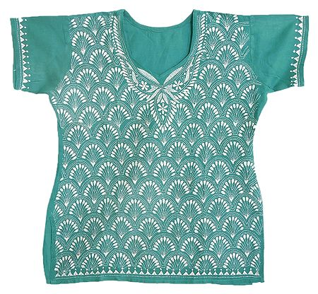 Kantha Stitch on Cyan Blue Cotton Kurti