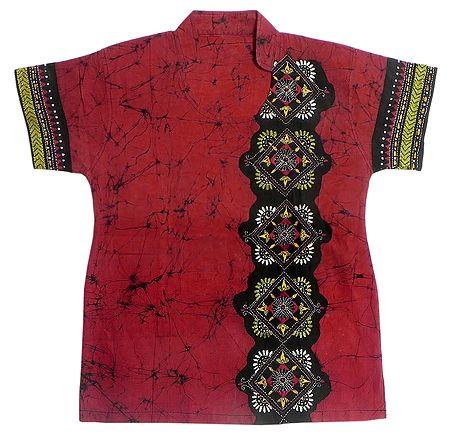 Red and Black Batik Painted Kurta with Kantha Stitch Embroidery