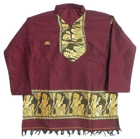 Maroon Full sleeve Kurta with Baluchari Weaved Design