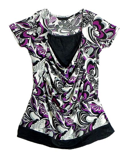 Purple, Grey and Black Print on White Top