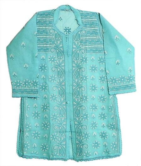 Light Blue Kurti with White Thread Embroidery