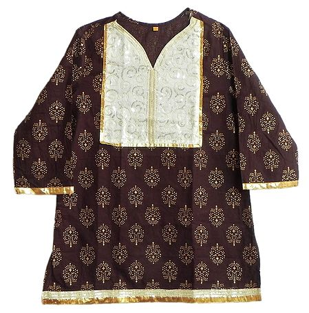 Dark Maroon Printed Kurti with Sequine Work on White Appliqued Cloth